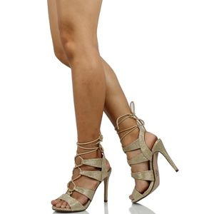 Gold Shimmer Lace Up Caged Strappy Heel Sandal
